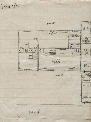 Drawing of house floor plans 1930