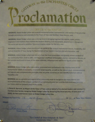 1- Mabel Dodge Luhan Day proclamation