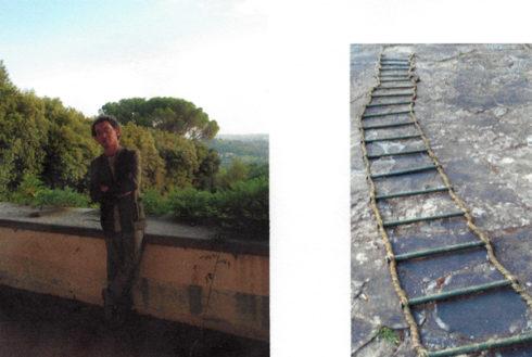 L: Marco Tornar at the Villa Curronia; R: Mabel's silken ladder. Courtesy of Elena Macellari
